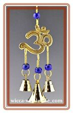 "9"" Brass OM SIGN Wind Chime Wicca  FREE SHIP Windchime Feng Shui Bell"