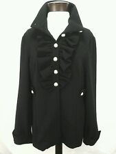 MAC & JAC Women's Anthropology Military Black Jacket Coat Ruffles XL GORGEOUS!