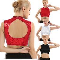 Women Shiny Sequins Mock Neck Crop Top Club Dance Party Camisole Vest Blouse Top