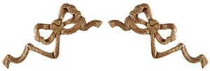 Regency Style Interior Wood Onlay Ribbon & Bow, Matching Pair Carved Pine, PN358