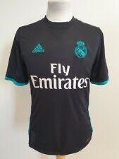 HH33 Chicos Adidas Negro Verde Real Madrid Camiseta de fútbol Reino Unido XL 15-16 años