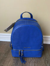 NWT MICHAEL Michael Kors Rhea Medium Perforated Zip Backpack Electric Blue
