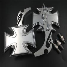 Chrome Maltese Cross Rearview Mirrors fit For Harley Big Dog Titan Iron Horse