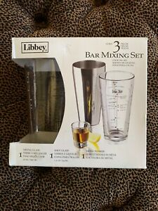 Libbey 3 pc Bar Mixing set Cocktail Recipes Shot Glass Metal Shaker Hg14