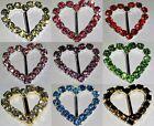 20 Grade A Rhinestone Various Colours Heart Buckles Wedding Ribbon Slider 10mm