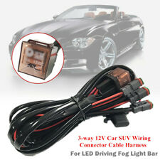 3-way 12V Car Auto Wiring Connector Cable Harness for LED Driving Fog Light Bar