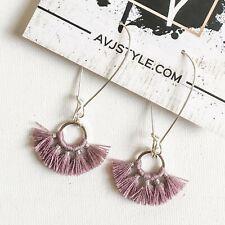 """Small Hoop Fan Tassel Earrings, Lilac Earrings, Tassel Jewelry, 2.25 .75"""""""