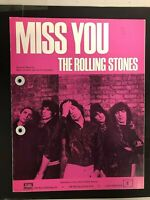 """EARLY RARE UK EMI Rolling Stones """"MISS YOU""""  Sheet Music 1978  4483"""