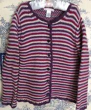 Janie And Jack Cashmere Wool 5T Classic Charm Sweater Cardigan Striped Purple