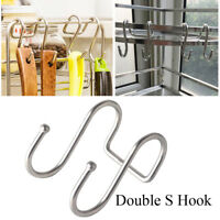 & Kitchen Stainless Steel Storage Rack Double S Shaped Hook Clasps Hooks Hanger