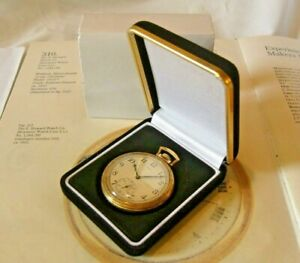 Pocket Watch Display Box Antique Style Black Velvet & Gold With Recessed Base