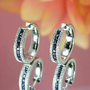 2Ct Round Cut Blue Sapphire Diamond Huggie Hoop Earrings 14K White Gold Over