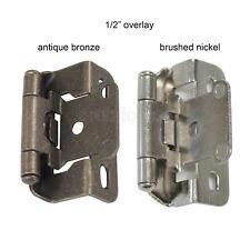 """Cabinet Hinge Self Closing Door Hinge 1/2"""" Overlay Brushed Nickel/Antique Bronze"""