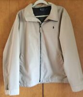Polo Ralph Lauren Mens Beige Zip Up Light Weight Jacket Classic Pony Size L