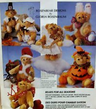 "11"" HOLIDAY Bear Dolls & Clothing, uncut sewing pattern, McCalls 6832"