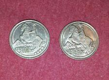 2 Vintage Austria Casino Ride a Lucky Wave Token Coin Cowboy on Horse
