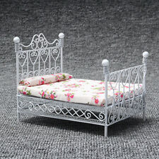 1/12 Dollhouse Miniature Bedroom European Furniture Metal Bed w/ Mattress White