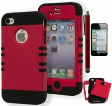 For iPhone 4 Hybrid Black Cover Red Pink Magenta Case+Screen Protector+Stylus