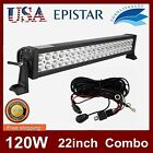 "22"" 120W Led Light Bar Flood Spot Work Lamp Offroad+Wiring Harness Kit 240/300W"
