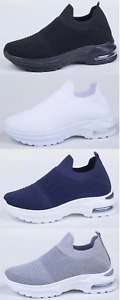 Ladies Womens Running Trainers Gym Sports Breathable Shock Comfy Slip On Shoes