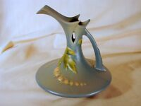 Old Roseville Bleeding Heart Blue 6in Ewer, 963-6, Excellent Condition, ca. 1940