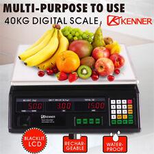 40KG Digital Kitchen Scale Electronic Scales Shop Market Commercial Black LED