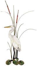 White Heron Egret w/ Cattails Metal Bird Wall Art Decor Sculpture by Bovano W362