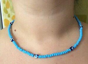 Modische Halskette Böser Blick NAZAR Fatmagül Kolyesi Babyblau