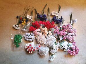 Mini Flower Floral Lot Ribbon Flowers Craft DIY Supplies Miniature Roses & More