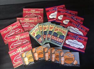20 Vintage Soda Pop Bottle Product Labels CLINTONIC STEINS CALIFORNIA BEST ~ YGF