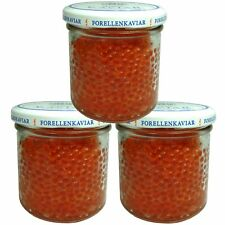 3x 120 g ( 1 kg/62,50€ ) Forellenkaviar Forelle Kaviar Lachsforellenkaviar Икра
