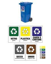 Set adesivi raccolta differenziata - pack di 5 cartelli adesivi + 5 etichette pe