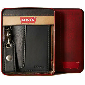 New Levi's Men's Black Leather Credit Card ID Chain Trifold Wallet + Box