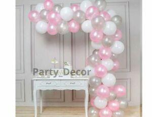 100 Pink Balloons Baloons Arch Pastel Birthday Wedding Baby Shower PEARL Ballon