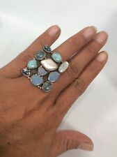 Statement Modernist sterling Silver 925 Opal Moonstone Pearl Ring Size 8