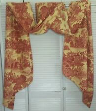 """Red & Cream/Yellow Toile Window Swag Scarf 166"""" x 26"""" French Country Farmhouse"""