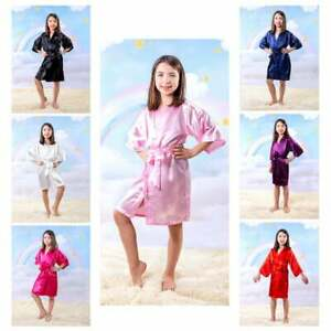 Kids Satin Robes Birthday Girl Gift Squad Spa party Sleepover Matching