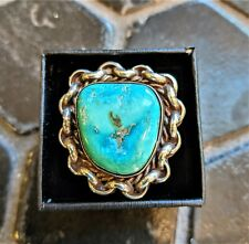Vintage Navajo Sterling Silver Blue Green Turquoise Chain Link & Rope Ring 8.5