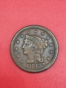 1847 Braided Hair Copper Large US Cent D99