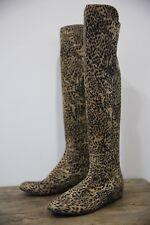 Stewart Weitzman Women's Leopard Print Tan Black Knee High Boots  7.5 M