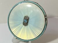 Art Deco Solid Silver, Topaz & Guilloche Enamel Compact 1937 Goldsmiths 87.8g