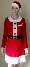 NWT Allison Brittney Cute Ugly Christmas Sweater Dress M Mrs Santa Red w/ Hat