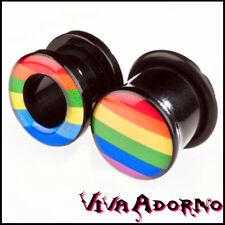 4-12mm Flesh Tunnel Plug Acrílico Rainbow Pride Arco Iris Piercing Oreja Z6