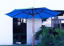 New Outdoor 9' FT Patio Wood Beach Market Wooden Umbrella Shade Yard Sky Blue