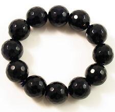 Fashion REAL AGATE BRACELET handmade Adjustable gemstone Bangle LARGE bead BLACK