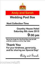 Personalised royal mail Post Box Wedding Card Box Wishing Well Photo 7x5 Sign