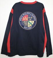 Polo Ralph Lauren Big Tall Mens Blue Red Big Pony Polo Crest Sweatshirt NWT 4XB