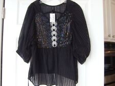NWT ARK & CO. womens 3/4 sleeve beaded embroidered black  blouse M $84
