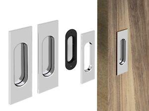 """Rectangle"" Flush Recessed Sliding Door Handle Set - Chrome - Satin Nickel"