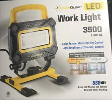 PowerGlow 3500 Lumen LED Rechargeable Work Light with USB Outlet to Charge Phone